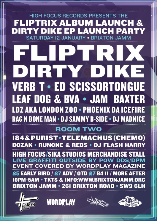 FliptrixDirty Dike - Launch Party Flyer